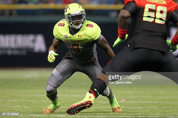 Lorenzo Carter of Norcross GA during the 2014 Under Armour AllAmerican Game at Tropicana Field in St Petersburg Florida