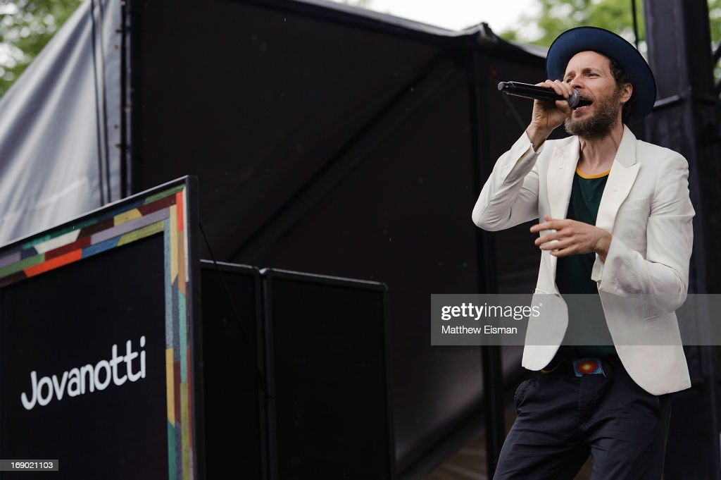 Lorenzo Cherubini AKA Jovanotti performs on stage during the 2013 Great GoogaMooga at Prospect Park on May 18, 2013 in the Brooklyn borough of New York City.