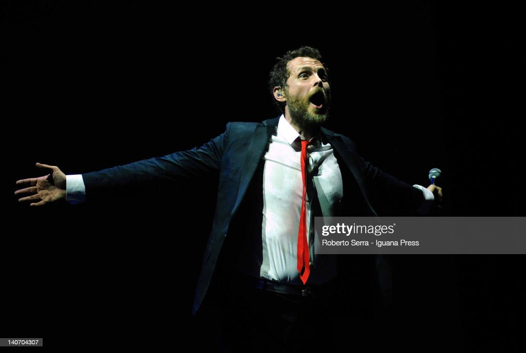 Lorenzo Cherubini 'Jovanotti' performs on stage during the last concert of his 'Ora Tour' at Unipol Arena on March 4 2012 in Casalecchio di Reno Italy