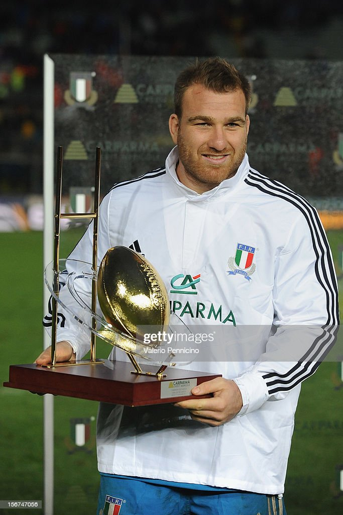 Lorenzo Cittadini of Italy receives the award for the 'player of the match' at the end of the international test match between Italy and Tonga at Mario Rigamonti Stadium on November 10, 2012 in Brescia, Italy.