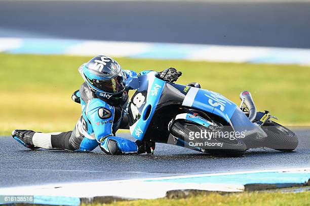 Lorenzo Dalla Porta of Italy and the Sky Racing Team VR46 crashes during Moto3 practise before qualifying for the 2016 MotoGP of Australia at Phillip...