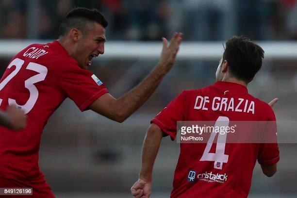 Lorenzo De Grazia of Teramo Calcio 1913 celebrate the 10 goal during the Lega Pro 17/18 group B match between Teramo Calcio 1913 and Ravenna FC at...