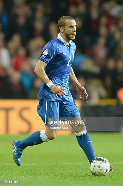 Lorenzo De Silvestri of Italy in action during the FIFA 2014 world cup qualifier between Denmark and Italy on October 11 2013 in Copenhagen Denmark