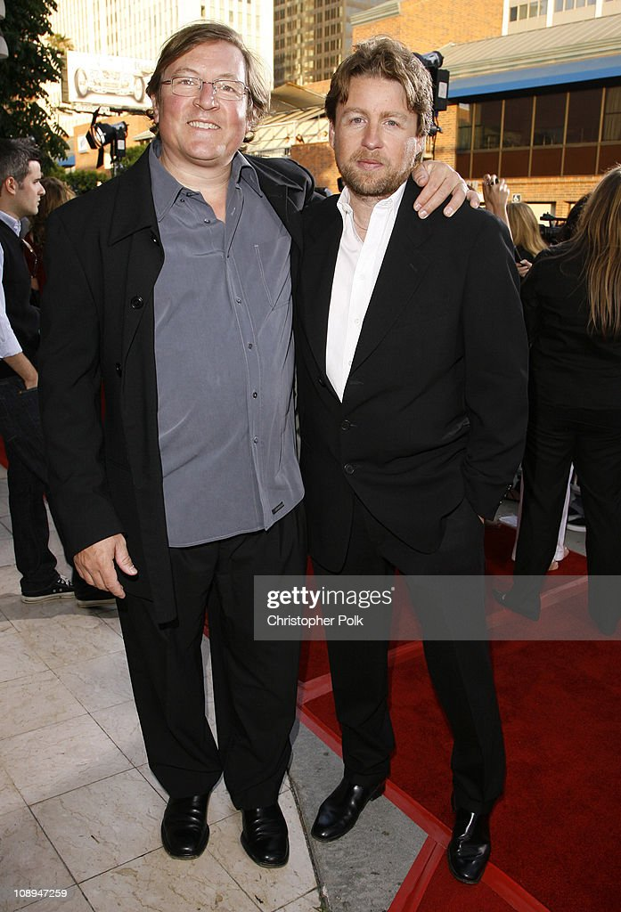 Lorenzo di Bonaventura and Mikael Hafstrom during '1408' Los Angeles Premiere Red Carpet at National Theatre in Westwood California United States