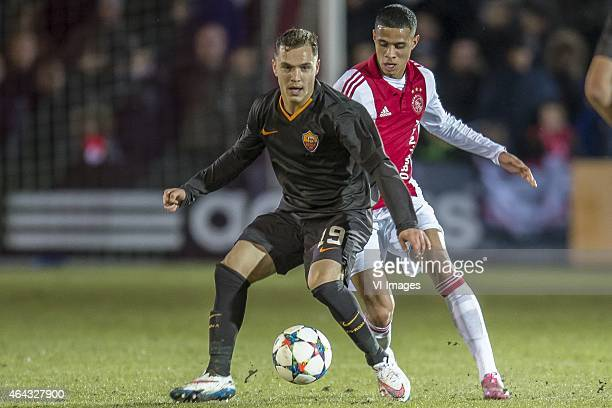 Lorenzo di Livio of AS Roma Damil Dankerlui of Ajax during the 1/8 final Europa Youth League match between Ajax U19 and AS Roma U19 on February 24...