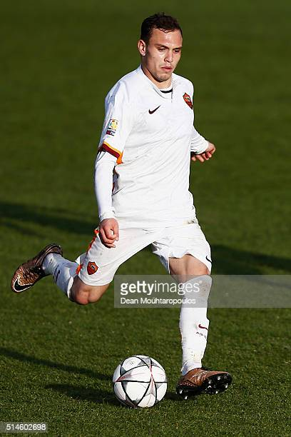 Lorenzo Di Livio of Roma in action during the UEFA Youth League Quarterfinal match between Paris Saint Germain and AS Roma at Stade GeorgesLefevre on...