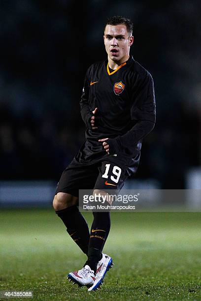 Lorenzo Di Livio of Roma in action during the UEFA Youth League Round of 16 match between Ajax Amsterdam and AS Roma held at Portpark de Toekomst on...
