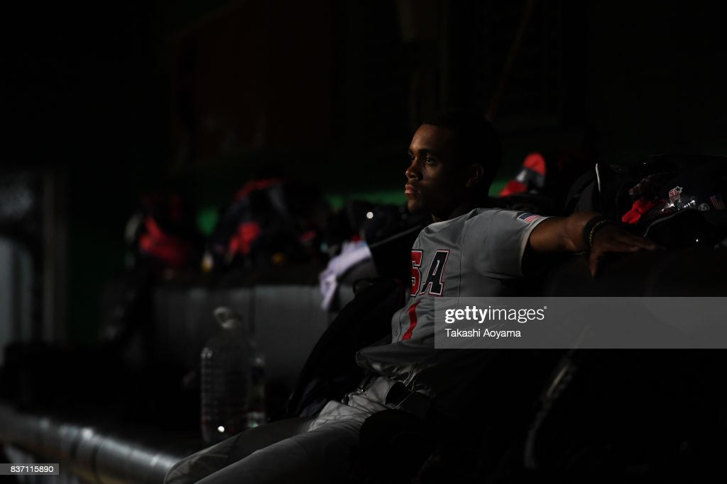 Lorenzo Elion #1 of United States watches play from the dugout during the Baseball Group B match between United States and Russia during day three of the 29th Summer Universiade Taipei at the Xinzhuang Baseball Stadium on August 22, 2017 in Taipei, Taiwan.