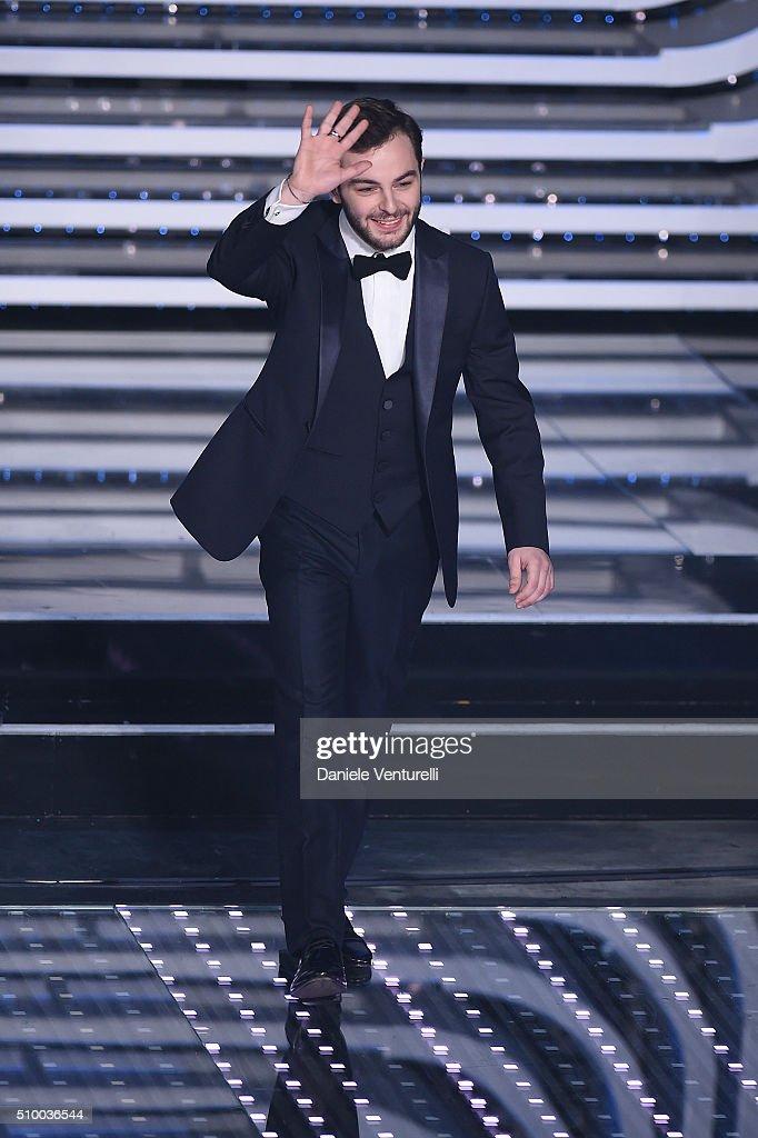 Lorenzo Fragola attends the closing night of 66th Festival di Sanremo 2016 at Teatro Ariston on February 13, 2016 in Sanremo, Italy.