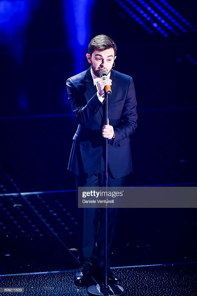 Lorenzo Fragola attends the opening night of the 66th Festival di Sanremo 2016at Teatro Ariston on February 9, 2016 in Sanremo, Italy.