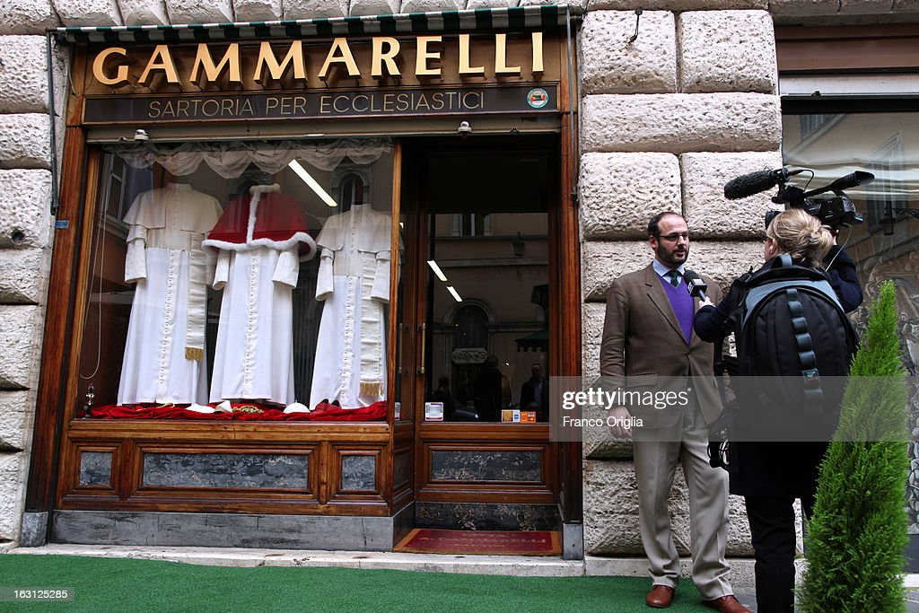 Lorenzo Gammarelli is interviewed as three types of garments for the next Pope are displayed at the Gammarelli Atelier on March 5 2013 in Rome Italy...