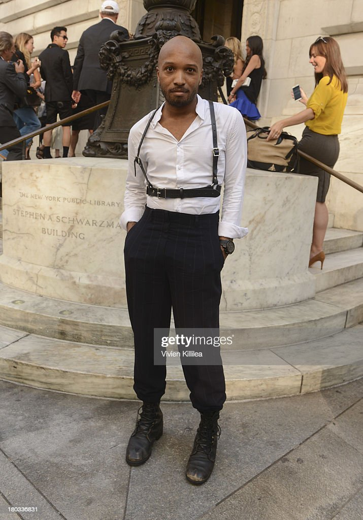 Lorenzo Hill-White arrives at the Marchesa runway show during Mercedes-Benz Fashion Week Spring 2014 at The New York Public Library on September 11, 2013 in New York City.