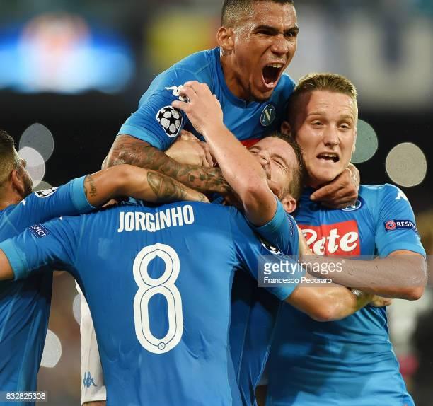 Lorenzo Insigne Allan Piotr Zielinski Jorginho and Dries Mertens of SSC Napoli celebrate the 20 goal scored by Jorginho during the UEFA Champions...