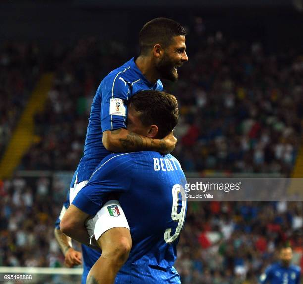 Lorenzo Insigne and Andrea Belotti of Italy celebrate during the FIFA 2018 World Cup Qualifier between Italy and Liechtenstein at Stadio Friuli on...