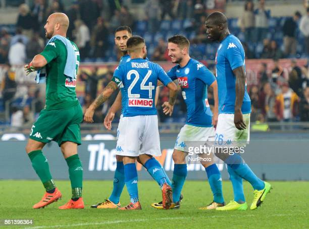 Lorenzo Insigne and Dries Mertens during the Italian Serie A football match between AS Roma and SSC Napoli at the Olympic Stadium in Rome on october...