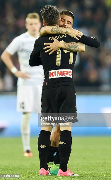 Lorenzo Insigne and Dries Mertens of SSC Napoli celebrate the 10 goal scored by Dries Mertens during the Serie A match between SSC Napoli and Udinese...