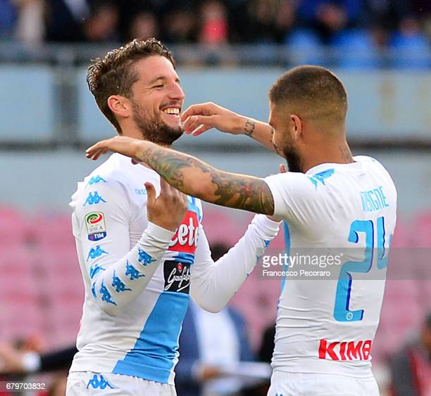 Lorenzo Insigne and Dries Mertens of SSC Napoli celebrate the 20 goal scored by Dries Mertens during the Serie A match between SSC Napoli and...