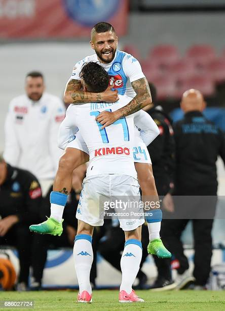 Lorenzo Insigne and Dries Mertens of SSC Napoli celebrate the 20 goal scored by Lorenzo Insigne during the Serie A match between SSC Napoli and ACF...