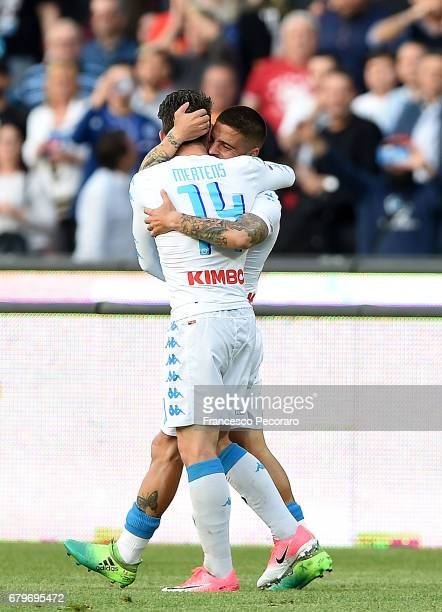Lorenzo Insigne and Dries Mertens of SSC Napoli celebrate the 30 goal scored by Lorenzo Insigne during the Serie A match between SSC Napoli and...