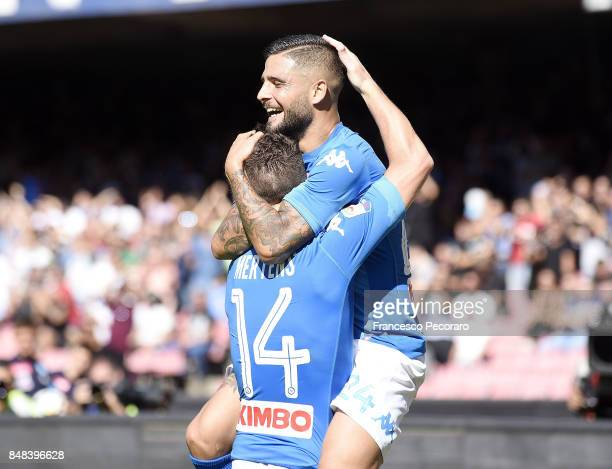 Lorenzo Insigne and Dries Mertens of SSC Napoli celebrate the 50 goal scored by Dries Mertens during the Serie A match between SSC Napoli and...