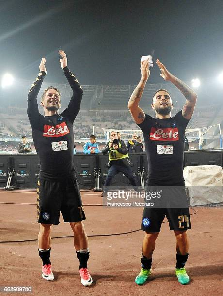 Lorenzo Insigne and Dries Mertens players of SSC Napoli celebrate the victory after the Serie A match between SSC Napoli and Udinese Calcio at Stadio...