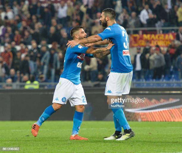 Lorenzo Insigne and Faouzi Ghoulam during the Italian Serie A football match between AS Roma and SSC Napoli at the Olympic Stadium in Rome on october...