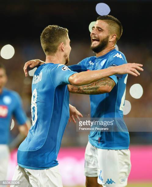 Lorenzo Insigne and Jorginho of SSC Napoli celebrate the 20 goal scored by Jorginho during the UEFA Champions League Qualifying PlayOffs Round First...