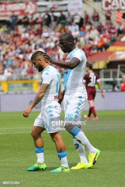 Lorenzo Insigne and Kalidou Koulibaly during the Serie A football match between Torino FC and SSC Napoli at Olympic stadium Grande Torino on may 14...