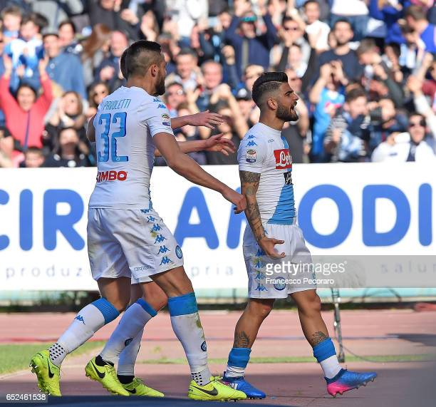 Lorenzo Insigne and Leonardo Pavoletti of SSC Napoli celebrate the 10 goal scored by Lorenzo Insigne during the Serie A match between SSC Napoli and...