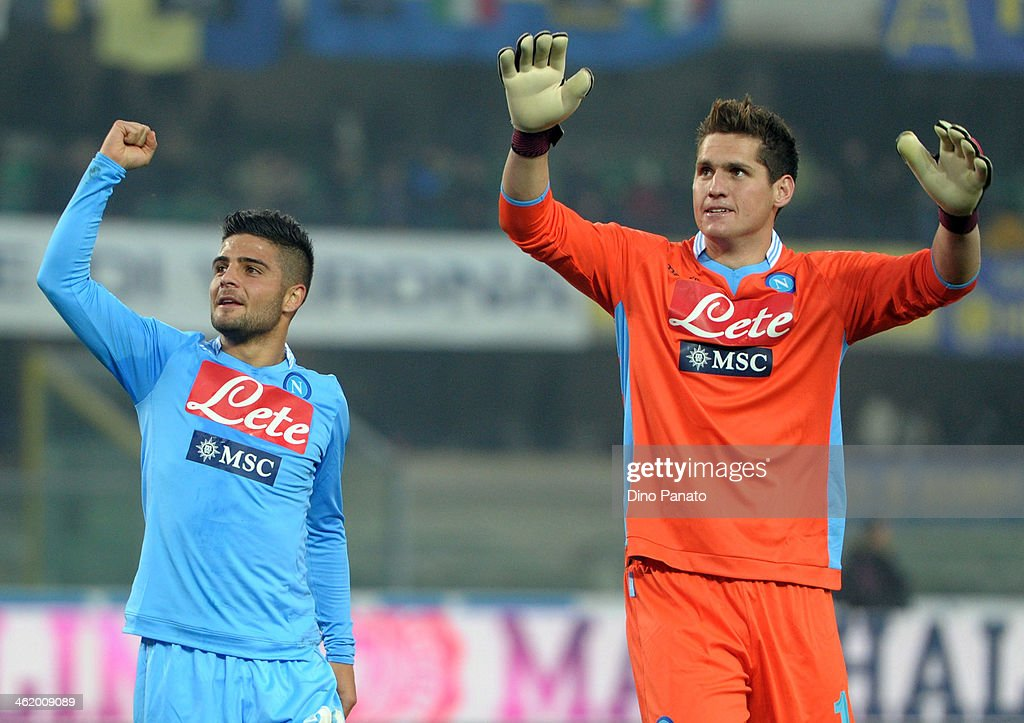lorenzo Insigne and Rafael Cabral Barbosa goalkeeper of SSC Napoli celebrates victory after the Serie A match between Hellas Verona FC and SSC Napoli at Stadio Marc'Antonio Bentegodi on January 12, 2014 in Verona, Italy.