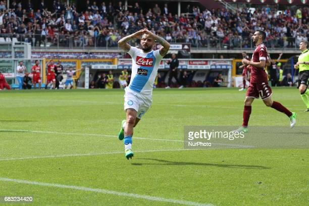 Lorenzo Insigne celebrates after scoring during the Serie A football match between Torino FC and SSC Napoli at Olympic stadium Grande Torino on may...