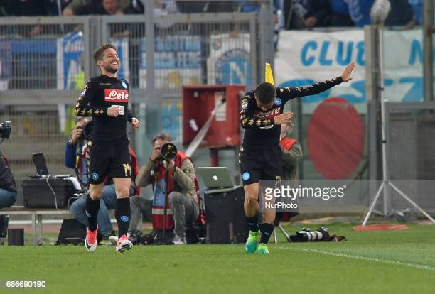 Lorenzo Insigne celebrates after scoring goal 02 during the Italian Serie A football match between SS Lazio and AC Napoli at the Olympic Stadium in...