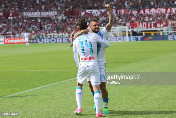 Lorenzo Insigne celebrates after scoring with Dries Mertens during the Serie A football match between Torino FC and SSC Napoli at Olympic stadium...