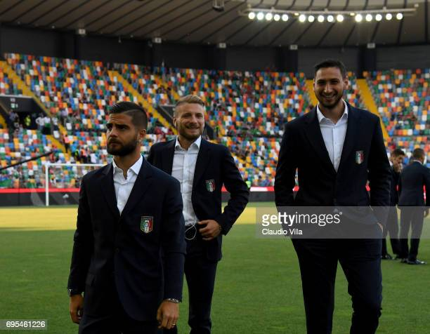 Lorenzo Insigne Ciro Immobile and Gianluigi Donnarumma of Italy look on prior to the FIFA 2018 World Cup Qualifier between Italy and Liechtenstein at...