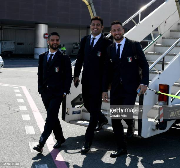 Lorenzo Insigne Citadin Martins Eder and Danilo D'Ambrosio of Italy arrive to Florence Airport on March 25 2017 in Florence Italy