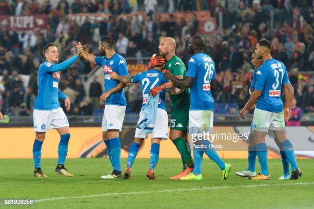 Lorenzo Insigne Jose Manuel Reina Piotr Zielinski Kalidou Koulibaly during the Italian Serie A football match between AS Roma and SSC Napoli at the...