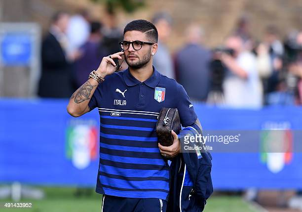 Lorenzo Insigne looks on prior to the Italy training session at Coverciano on October 5 2015 in Florence Italy