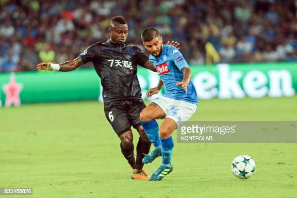 Lorenzo Insigne Napoli striker and Jean Michaël Seri midfielder of Nice during the match between SSC Napoli and OGC Nice to qualify for the playoffs...