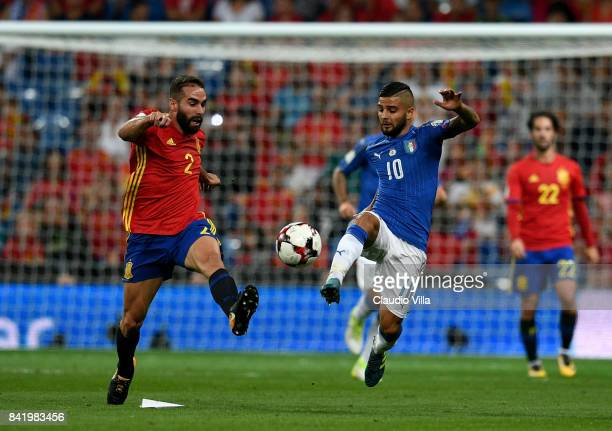 Lorenzo Insigne of Italy and ADani Carvajal of Spain compete for the ball during the FIFA 2018 World Cup Qualifier between Spain and Italy at Estadio...