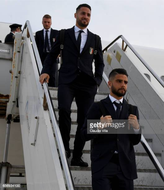 Lorenzo Insigne of Italy arrives to Palermo on March 23 2017 in Palermo Italy