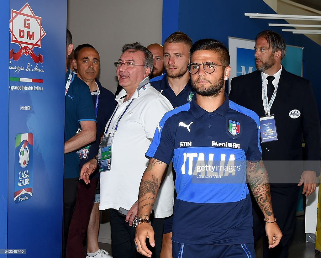 <a gi-track='captionPersonalityLinkClicked' href=/galleries/search?phrase=Lorenzo+Insigne&family=editorial&specificpeople=7486481 ng-click='$event.stopPropagation()'>Lorenzo Insigne</a> of Italy attends a press conference at Casa Azzurri on June 29, 2016 in Montpellier, France.