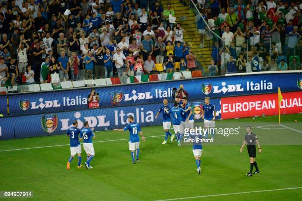Lorenzo Insigne of Italy celebrates after scoring his opening goal during the FIFA 2018 World Cup Qualifier between Italy and Liechtenstein at Stadio...
