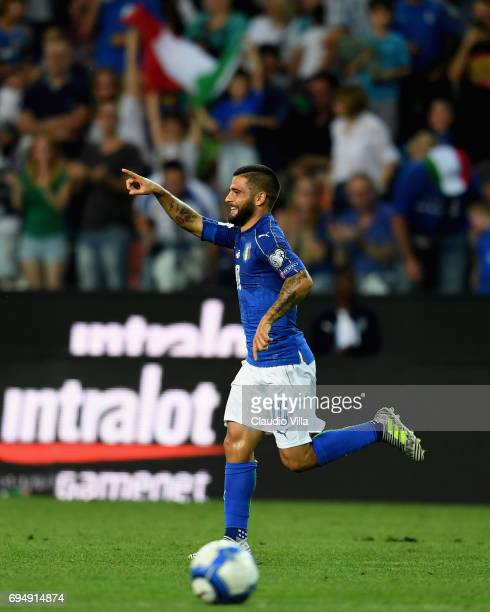 Lorenzo Insigne of Italy celebrates after scoring the opening goal during the FIFA 2018 World Cup Qualifier between Italy and Liechtenstein at Stadio...