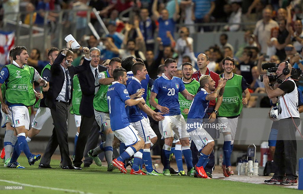 Lorenzo Insigne of Italy celebrates scoring a goal during the UEFA European U21 Championships, Group A match between England and Italy at the Bloomfield Stadium on June 5, 2013 in Tel Aviv, Israel.