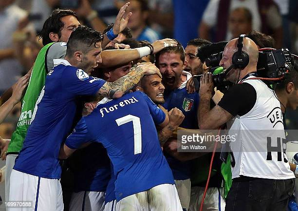 Lorenzo Insigne of Italy celebrates scoring a goal during the UEFA European U21 Championships Group A match between England and Italy at the...