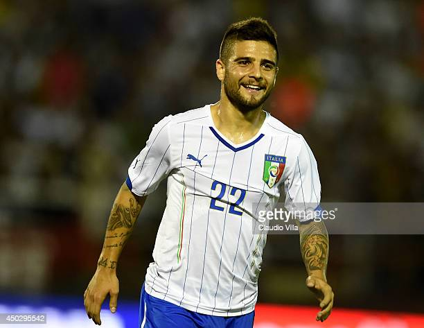Lorenzo Insigne of Italy celebrates scoring the first goal during the international friendly match between Italy and Fluminense FC on June 8 2014 in...