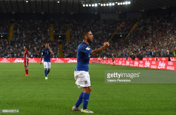 Lorenzo Insigne of Italy celebrates the opening goal during the FIFA 2018 World Cup Qualifier between Italy and Liechtenstein at Stadio Friuli on...