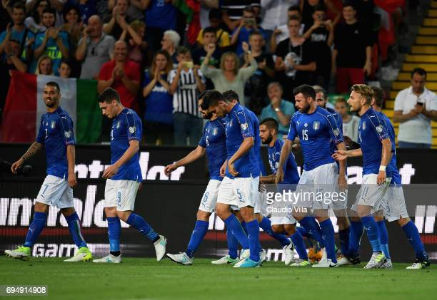 Lorenzo Insigne of Italy celebrates with teammates after scoring the opening goal during the FIFA 2018 World Cup Qualifier between Italy and...