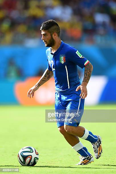 Lorenzo Insigne of Italy controls the ball during the 2014 FIFA World Cup Brazil Group D match between Italy and Costa Rica at Arena Pernambuco on...