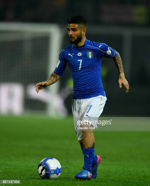 Lorenzo Insigne of Italy in action during the FIFA 2018 World Cup Qualifier between Italy and Albania at Stadio Renzo Barbera on March 24 2017 in...